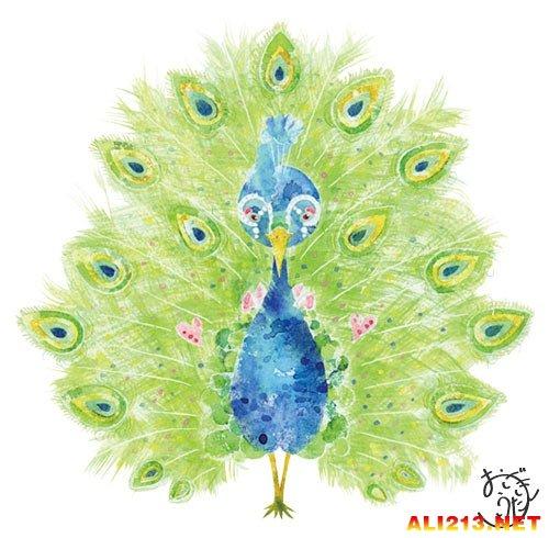 颜料创作的动物手绘