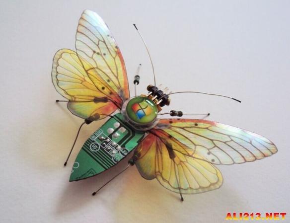 国外艺术家用废弃电路板制作的昆虫