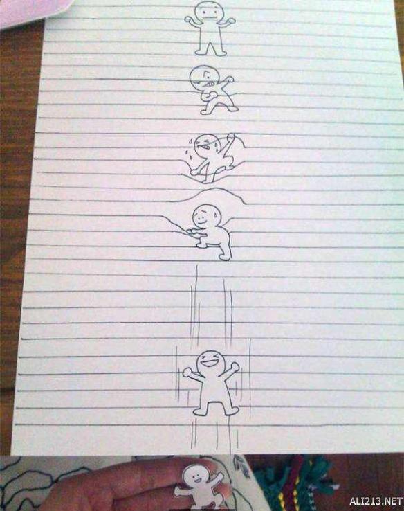 把线条当成牢笼创作的四格漫画,小人好可爱呀.