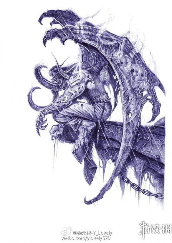 跪地膜拜!《魔兽世界》高玩用圆珠笔绘制魔兽名人