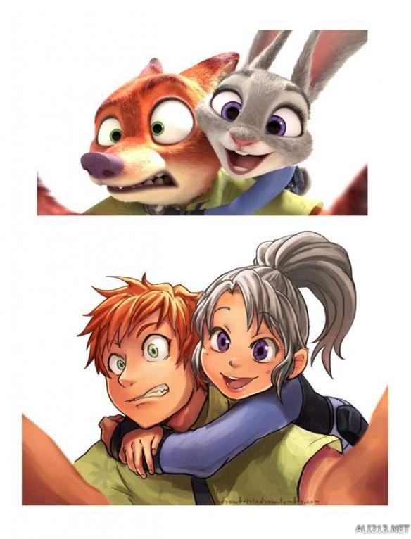 绘师将电影《疯狂动物城》角色朱迪和尼克拟人化,表情图片