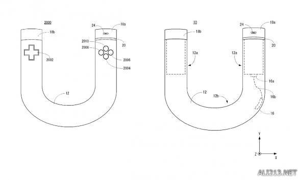 """任天堂最新""""马蹄形""""手柄概念图   这份专利是任天堂在2015年9月18日申请的,专利的名称是""""训练工具、训练系统、输入设备。""""根据这份列表,这个控制器""""包含了一个中空的躯干……由铝合金打造"""",""""控制器接头部分的内部带有负荷传感器。""""   由于带有负荷传感器,当用户用力使""""马蹄""""的两个柄彼此靠近,或者用力让""""马蹄""""的两个柄分开时,负荷"""