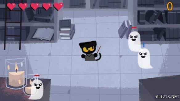 google首页推出万圣节小游戏 激萌魔法小黑猫驱逐恶灵 游戏 第3张