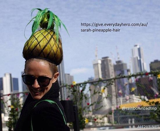 """头顶菠萝也能做慈善!天才造型师靠""""发型""""来募捐"""