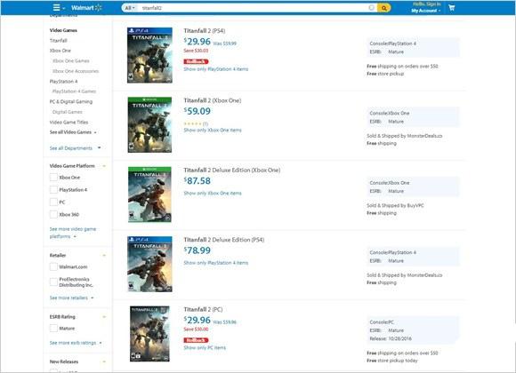 美国沃尔玛《泰坦天降2》惊现跳楼价 上市半月就打折