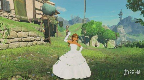 《塞尔达传说:荒野之息》玩家为林克定制婚纱 妖娆女装大佬图片
