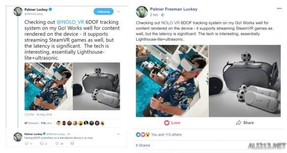 "小米VR发布前 Oculus创始人PO图""Oc Go拥有6DoF"""