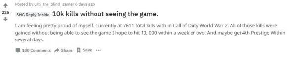 厉害了!盲人玩家在《使命召唤14:二战》获得了7600击杀