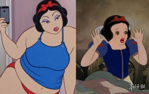白雪公主作为迪士尼第一位公主,小的时候就觉得她有一点点婴儿肥,怎么说也算不上好看。可当白雪公主更进一步再吃胖后更是惨不忍睹。原来那件美丽的蓝色连衣裙已经穿不下了,白雪公主只能换上一件更宽松的衣服。不过白雪公主本人好像不以为然,依然开心的拿着手机拍照。 贝儿公主