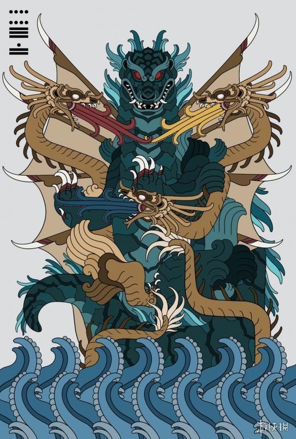 上古巨怪_墨西哥艺术家绘制神话风超级巨兽 哥斯拉、异形秒变上古巨神 ...