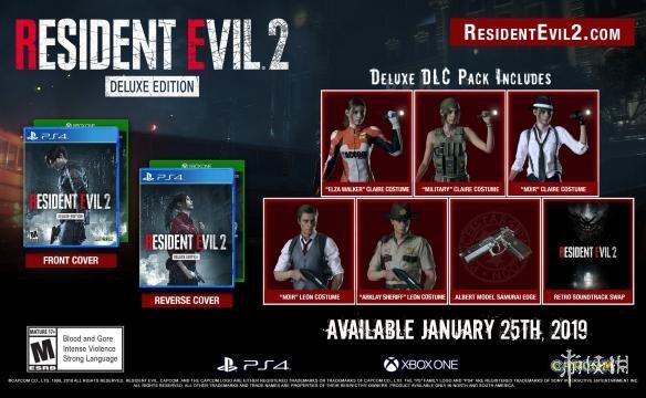 生化危机2:重制版豪华版封面图公布 克莱尔和里昂的DLC服装抢先看!