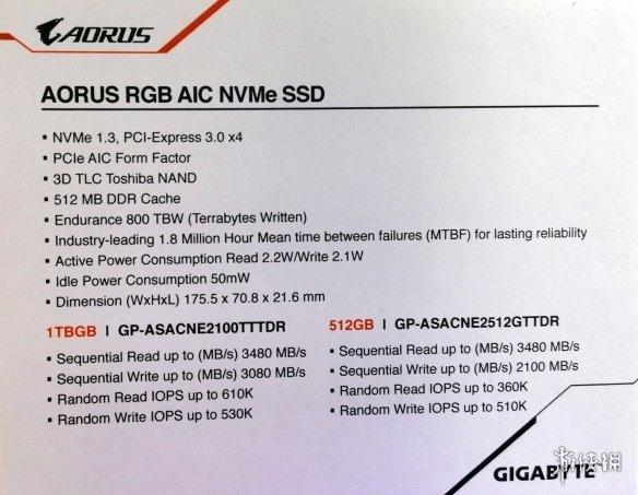 读取可达3.48GB/s 技嘉大雕版PCI-E/M.2固态发布