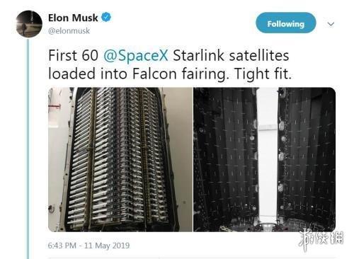 马斯克晒SpaceX猎鹰9号及60颗卫星 星链计划本周实行