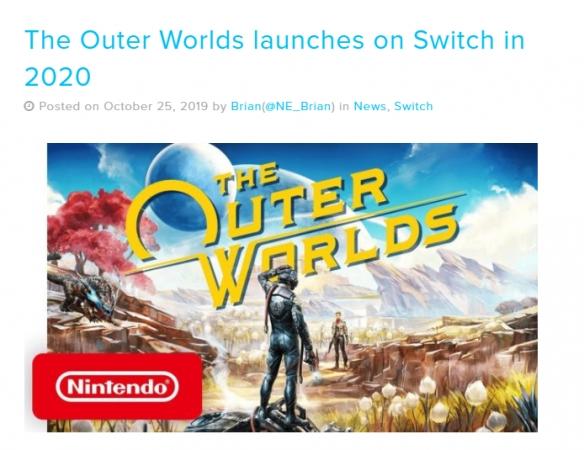 确定了!《天外世界》发行商:NS版定于2020年内发售