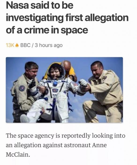 NASA女宇航員于太空黑入前任銀行賬戶  作案地點無法想象_鉆皇帝國