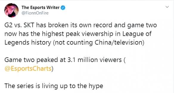 G2与SKT半决赛两度刷新英雄联盟史上最高收视记录!