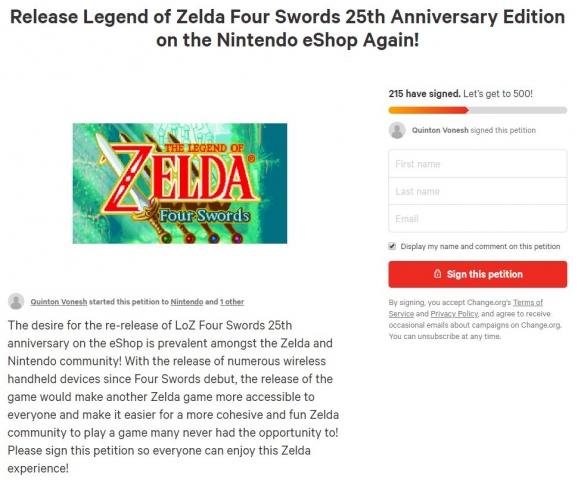 粉丝请愿任天堂让《塞尔达四支剑纪念版》登陆NS!