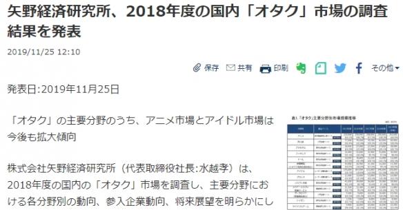 阿宅錢真好賺日本社調機構發布18年御宅族市場調查偶像市場增幅明顯!