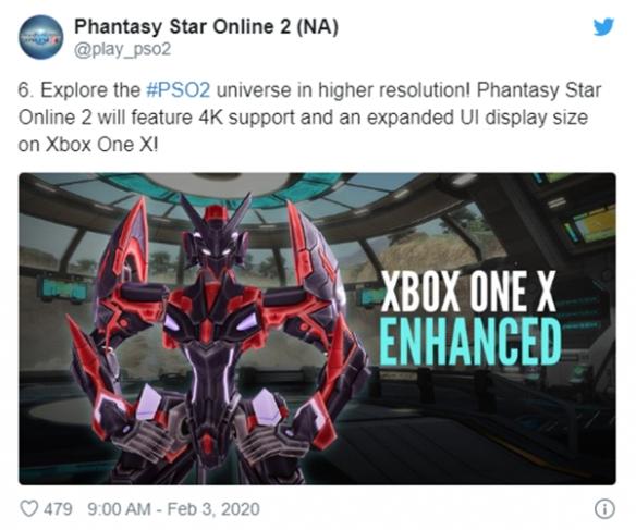 XboxoneX版《梦幻之星OL2》将会支持4K分辨率!
