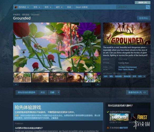 黑曜石新作《Grounded》上架Steam抢先体验即将开启