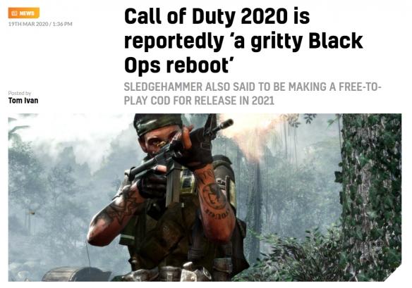 《玄色行动5》摆设上了!《使命召唤》2020将会重启《玄色行动》