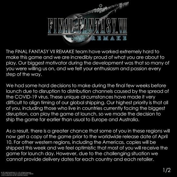 《最终幻想7》实体盘欧洲提前发售 官方:不要剧透!