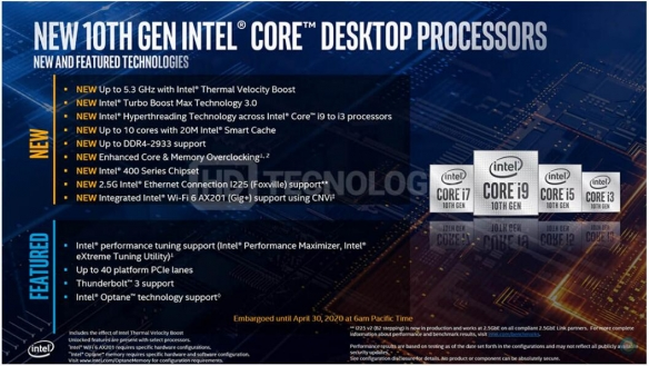 英特尔全新Comet Lake-S系列CPU参数/价格提前泄露