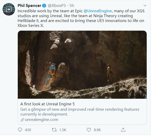 Xbox高管盛赞虚幻5引擎 期待在Xbox Series X上表现