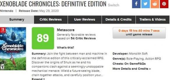 异度神剑终极版媒体评分 M站均分89一致好评
