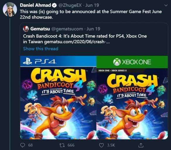 爆料:《古惑狼4》或于今年10月9日发售 明天有新消息