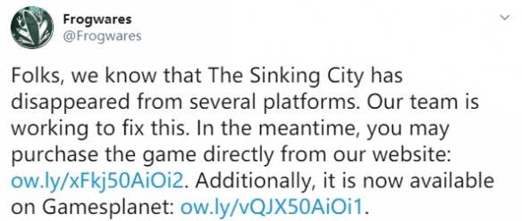 《沉没之城》突然下架Steam以及GOG 开发商解决中