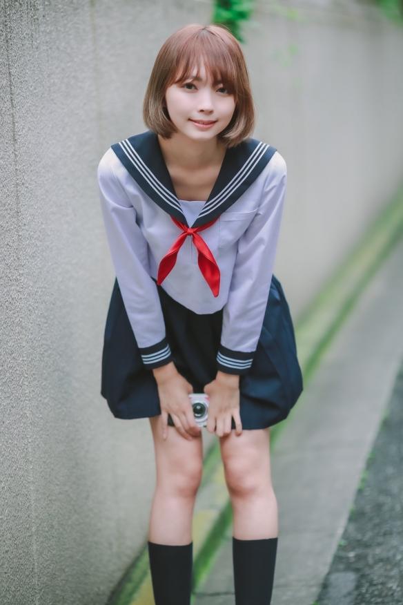 夏天和泳装JK是绝配!樱花妹模特東堂とも美图赏