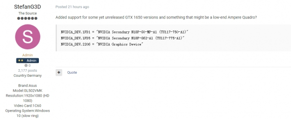 RTX 3080规格最新曝光:10GB显存 加速频率2.1GHz!
