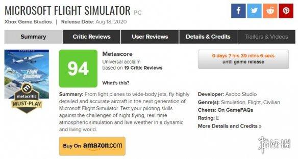 一战封神!《微软模拟飞行》M站均分94 多家媒体满分