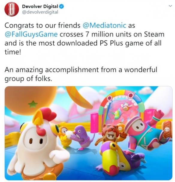 《糖豆人:终极淘汰赛》爆火 Steam销量突破700万!