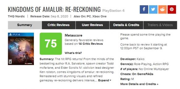 《阿玛拉王国:惩罚重制版》评分出炉!M站均分75分