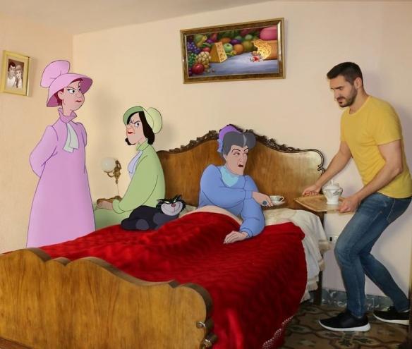 公主们环绕,艳福不浅!当迪士尼角色融入生活太清奇