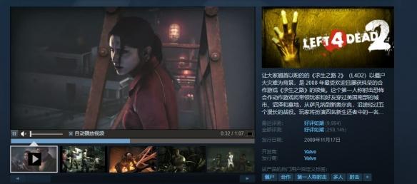 《求生之路2》成Steam第五热门游戏 峰值近9万人!