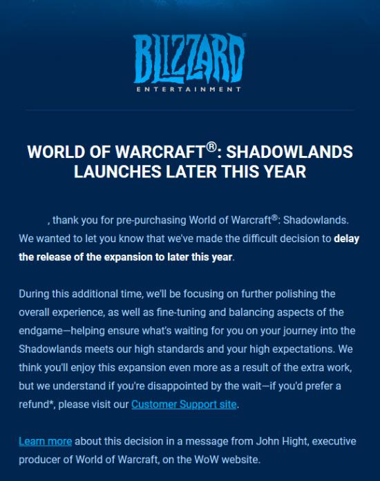 《魔兽世界:暗影国度》 跳票后续 暴雪致歉 可退款