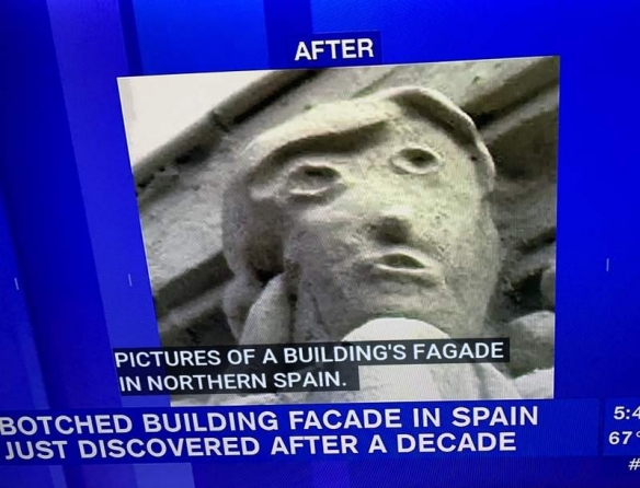 西班牙再现毁容式修复惨案!网友:确定不是照着川普?
