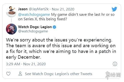 育碧计划于12月初修复《看门狗:军团》的存档问题