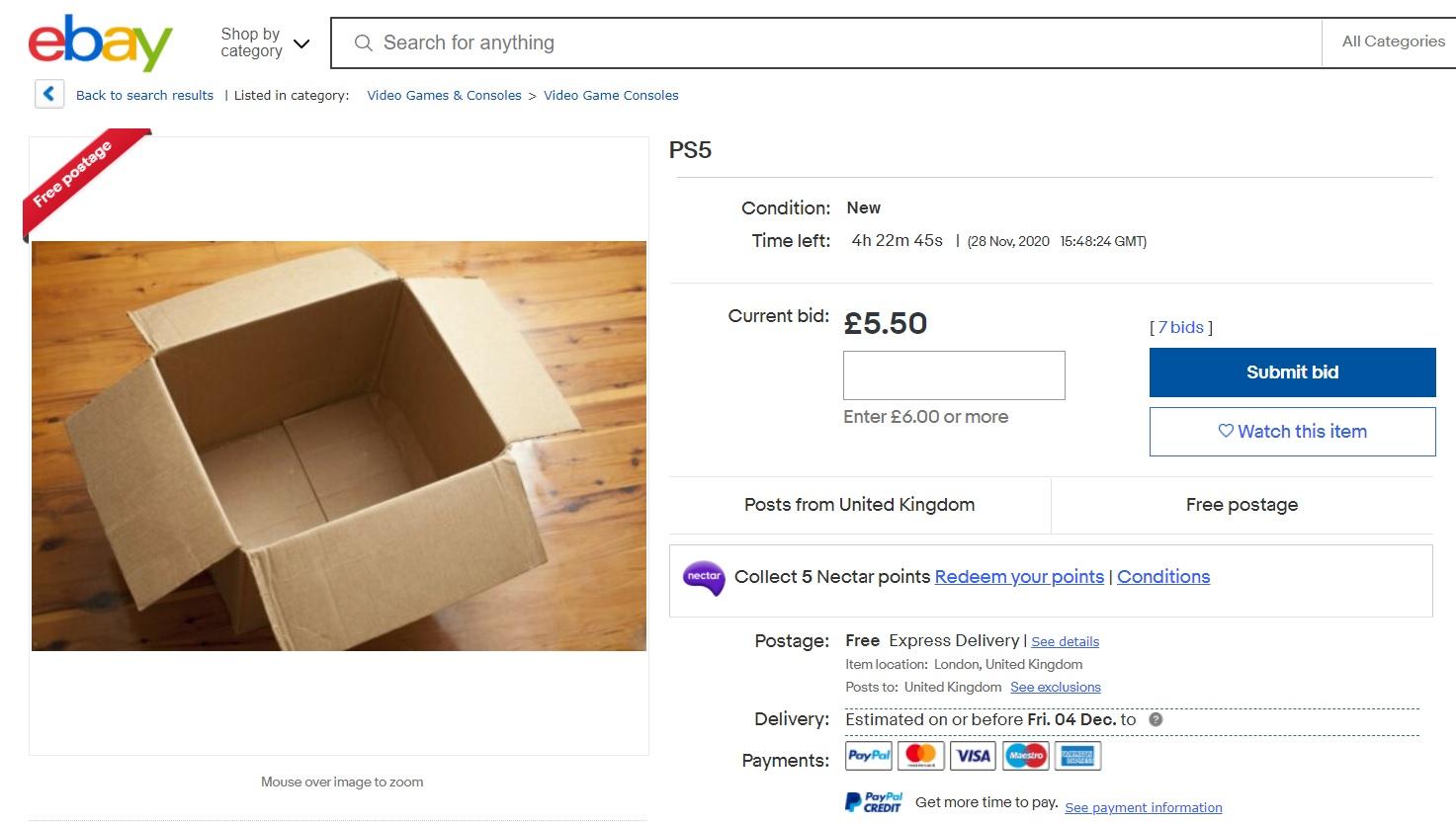 Ebay出现大量贩卖PS5照片的骗子 官方:已开始整治