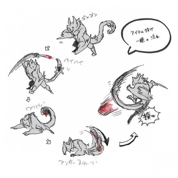 《怪猎:崛起》天狗兽、福木兔原画 人鱼龙姿势优雅!