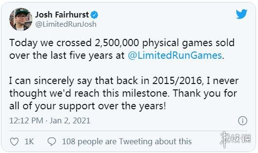 Limited Run Games老板宣布实体版游戏销量突破250万