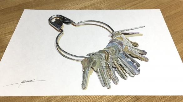 钥匙串像真的摆在桌上!11区铅笔画大触作品以假乱真