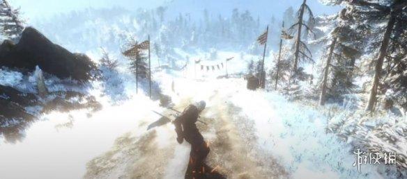 冰天雪地来滑雪!《巫师3》杰洛特用滑雪板玩极限运动