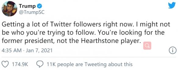 《炉石》职业选手推特被误认为川普 仅因为名字一致