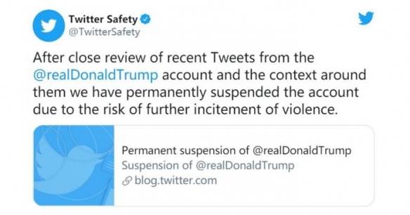推特宣布永久移除特朗普账号 账号内容已全部清空!