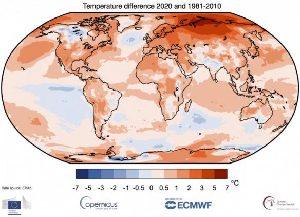 数据显示2020年是全球最热的一年:追平16年的纪录!