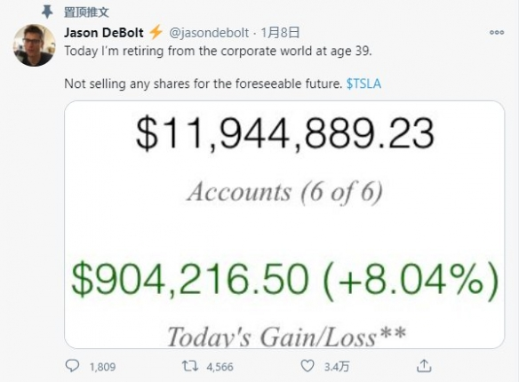 男子宣称从企业界退休!持有特斯拉股票身价7700万元!